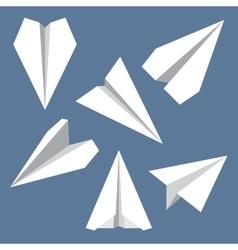 Paper plane flat symbols set paper origami vector