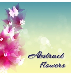 Abstract artistic background with red floral vector
