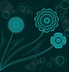 Abstract fantasy floral background blue flowers vector