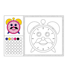 alarm clock coloring book page template vector image