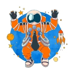 An astronaut in orange space suit vector