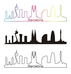 Barcelona skyline linear style with rainbow vector