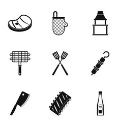Bbq party icons set simple style vector