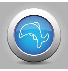 Blue metallic button white fish jumping icon vector