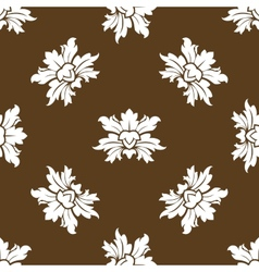 Brown seamless floral pattern with stylized vector image