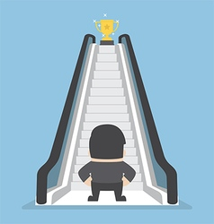 Businessman standing in front of escalator that le vector