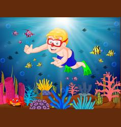 Cartoon boy diving in the sea vector