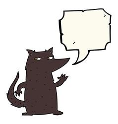 Cartoon wolf waving with speech bubble vector