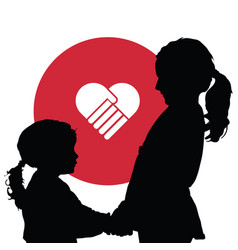 Children silhouette with red heart vector