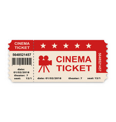 Cinema ticket isolated on white background vector