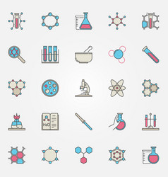 colorful chemistry icons vector image vector image