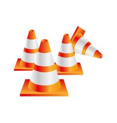 Colorful realistic striped traffic cone set vector
