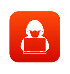 Computer hacker with laptop icon digital red vector