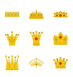 crown icon set flat style vector image
