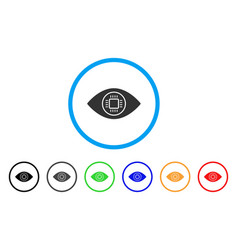 cyborg eye rounded icon vector image