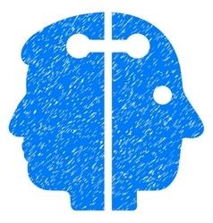 Dual head connection grainy texture icon vector