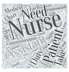 Duties of a nursing assistant word cloud concept vector