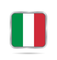 Flag of italy shiny metallic gray square button vector
