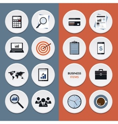 flat icons of business workflow items and elements vector image