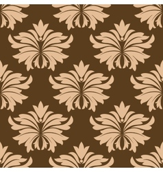 Floral seamless pattern with beige flowers on vector image