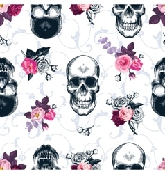 Floral seamless pattern with monochrome human vector