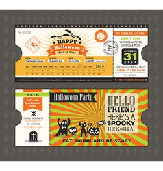 Halloween party card in Train Ticket pass style vector image