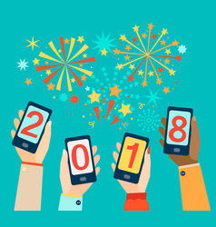 Hands with mobiles showing 2018 vector