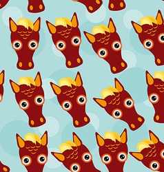 Horse Seamless pattern with funny cute animal face vector image vector image