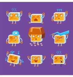 Little robot emoji set vector