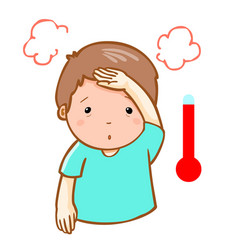 Man got fever high temperature cartoon vector
