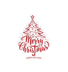 merry christmas and happy new year text xmas tree vector image vector image