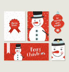 merry christmas snowman card and label set vector image