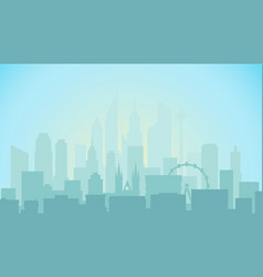 Modern cityscape in the morning office builngs vector