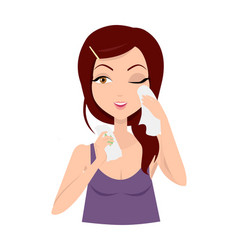 Moisturisation girl applying wet wipes vector