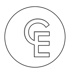 monochrome contour with currency symbol of vector image