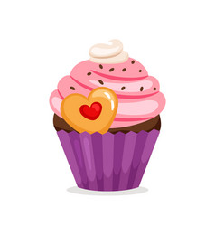 Muffin with pink cream and cookie vector
