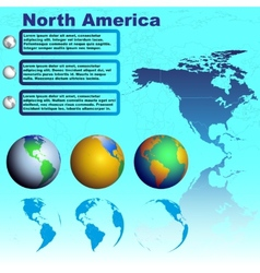 North America map on blue background vector image