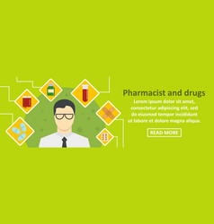 pharmacist and drugs banner horizontal concept vector image