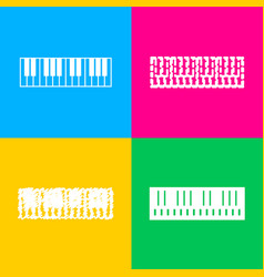 Piano keyboard sign four styles of icon on four vector