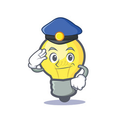 Police light bulb character cartoon vector