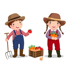 Profession costume of farmer for kids vector