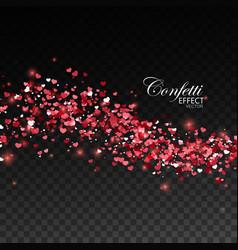 red glittering heart confetti vector image vector image