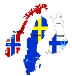 scandinavia countries vector image vector image