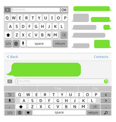 sms chat interface elements sms messenger vector image