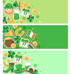 St patricks day green banners vector