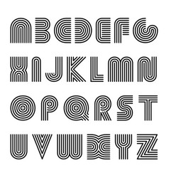 striped english alphabet linear font vector image vector image