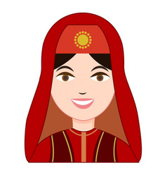 Turk woman in traditional costume icon vector