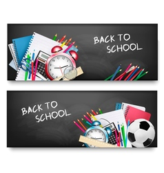 Two horizontal banners with school supplies vector