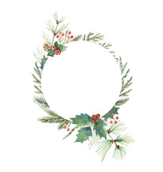 Watercolor christmas frame with fir vector