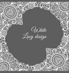 white lacy ornamental card design vector image vector image